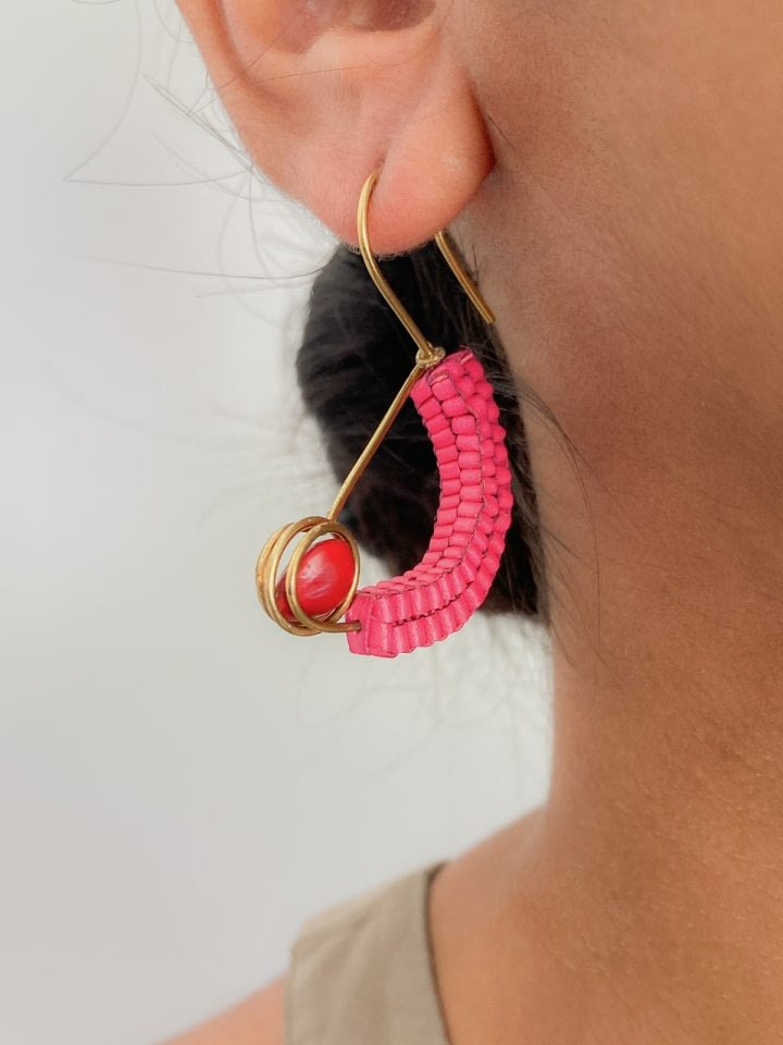 Cradled Palmyra & Forest Seed Earrings