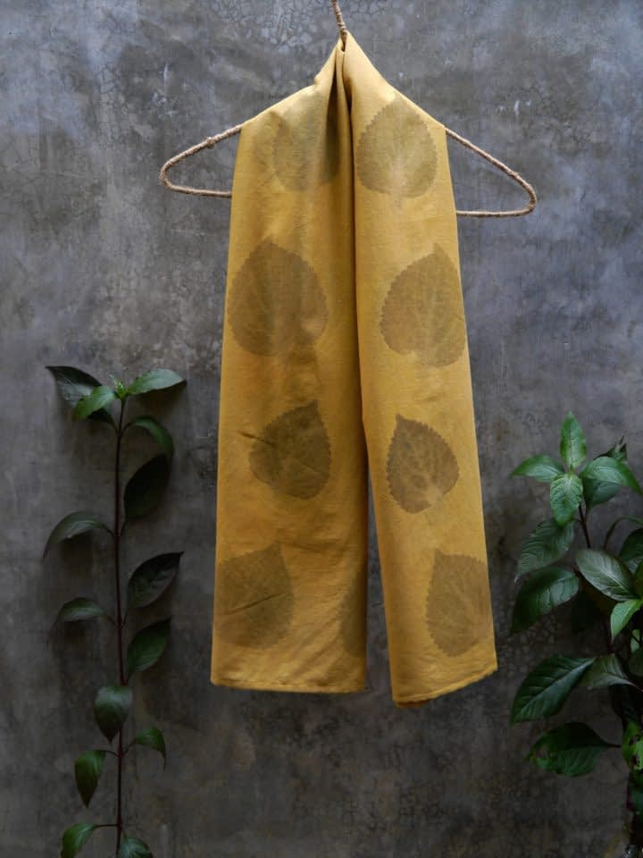 Hand-Dyed Shawl with Leaf Print