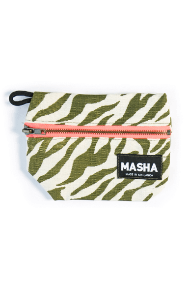 Large Rupee Coin Purse in Army Green & Fluroscent